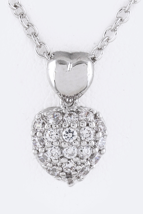 Petite CZ Heart Necklace - orangeshine.com