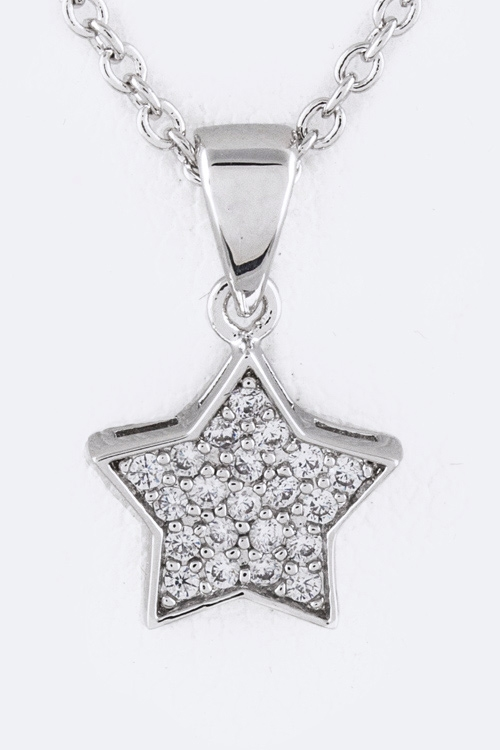 CZ Star Pendant Necklace - orangeshine.com