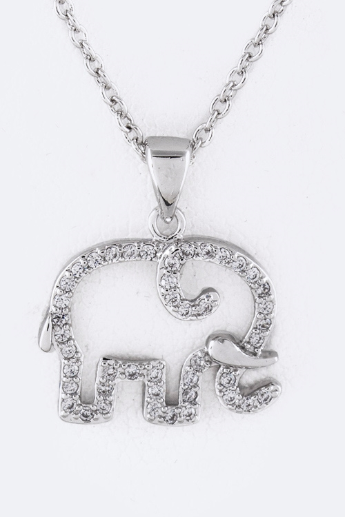 CZ Elephant Pendant Necklace - orangeshine.com