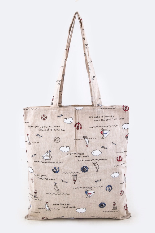 Sailor Pattern Canvas Tote - orangeshine.com