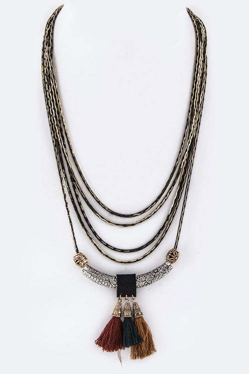 Tasseled Bar Layer Necklace - orangeshine.com