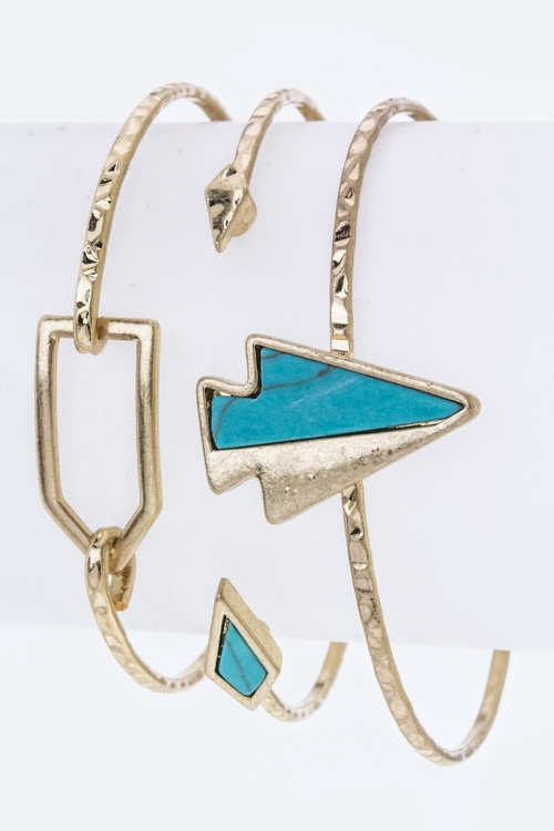 Turquoise Arrow Bangles Set - orangeshine.com
