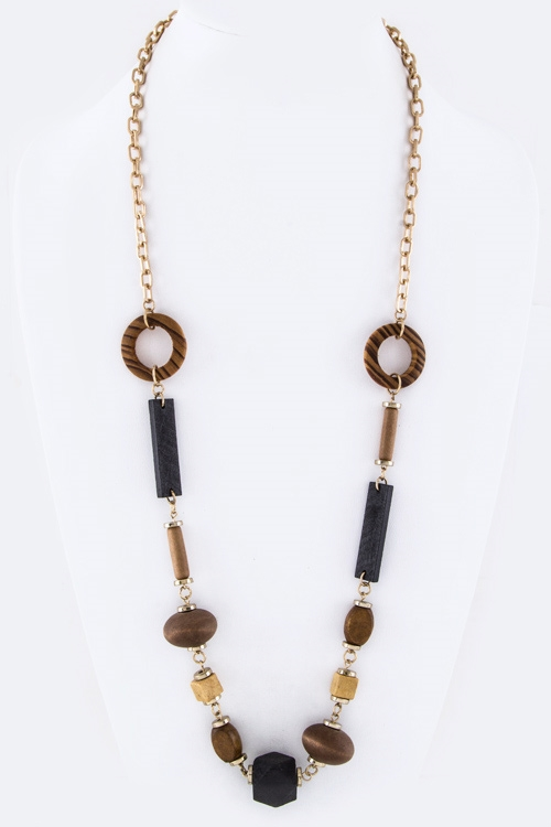 Mix Wooden Beads Necklace - orangeshine.com