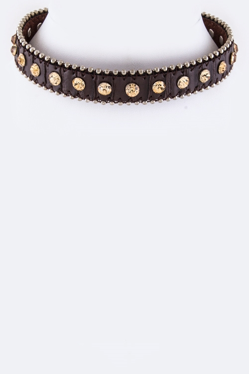 Crystal Studs Choker Necklace - orangeshine.com