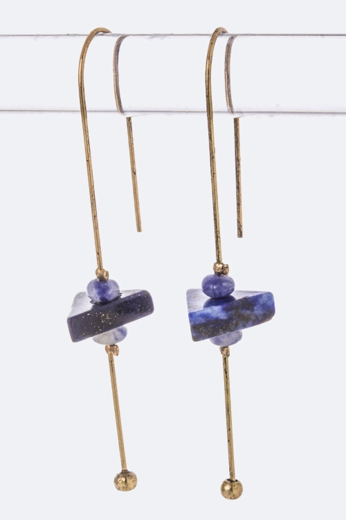 Bead  Stone Drop Bar Earrings - orangeshine.com