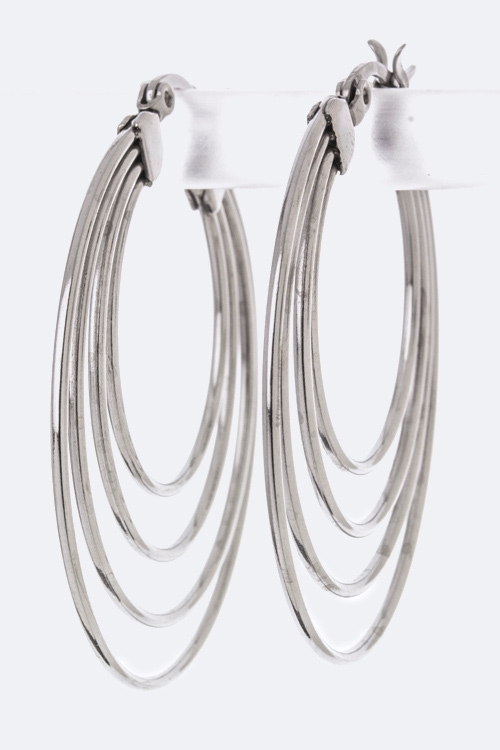 Stainless Steel Layered Hoops - orangeshine.com