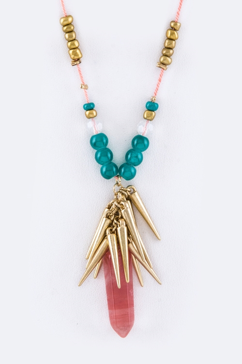 Quartz  Fringe Spikes Necklace - orangeshine.com