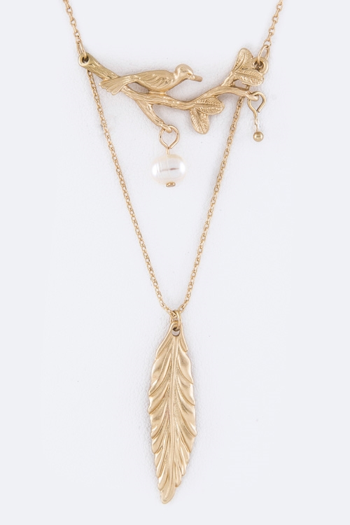 Metal Feather  Bird Necklace - orangeshine.com