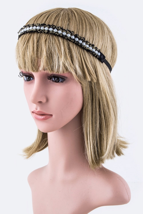 Pearl  Lurex Stretch Headband - orangeshine.com