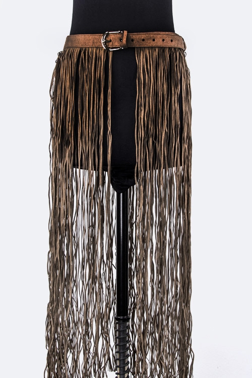 Long Sueded Fringe Belt - orangeshine.com