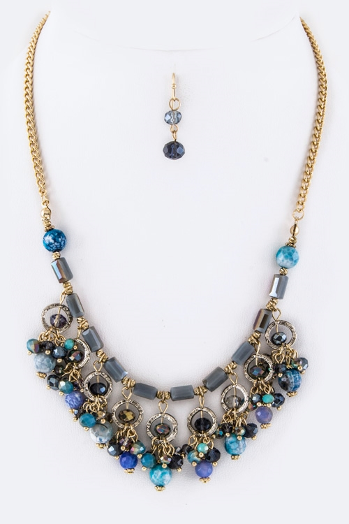 Mix Beads Statement Necklace  - orangeshine.com