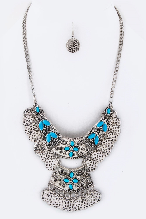 Fringe Disks Bib Necklace - orangeshine.com