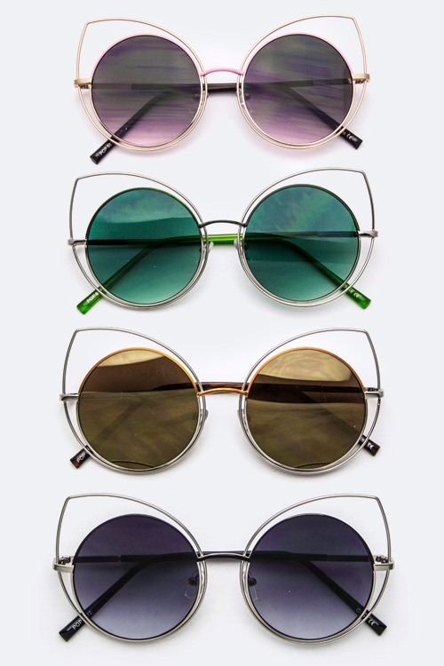 Cat Eye Frame Round Sunglasses - orangeshine.com