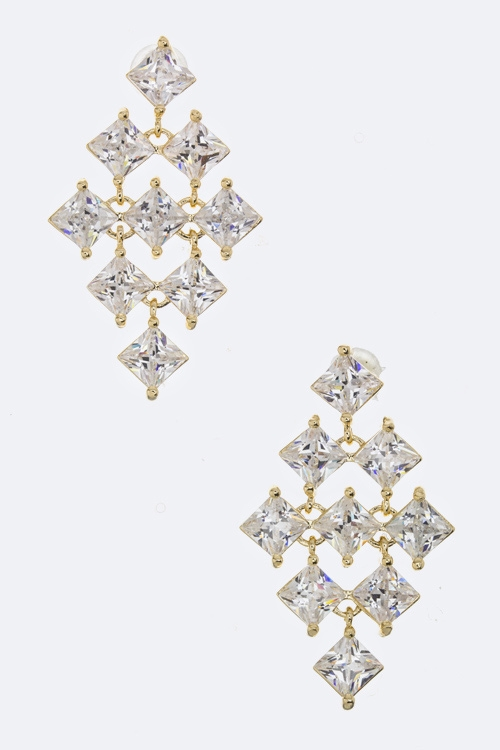 Layer CZ Rhombus Earrings - orangeshine.com