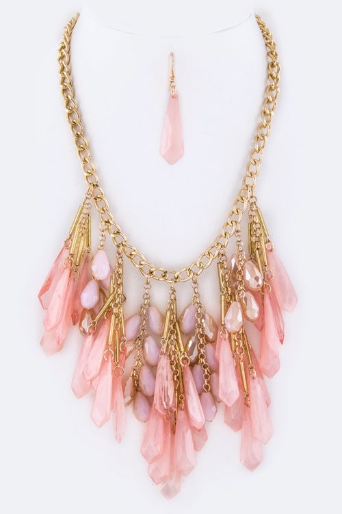 Fringe Mix Beads Necklace - orangeshine.com