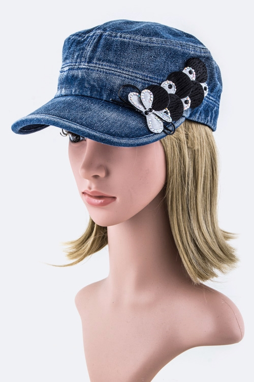 Crystal Bow Denim Cadet Hat - orangeshine.com