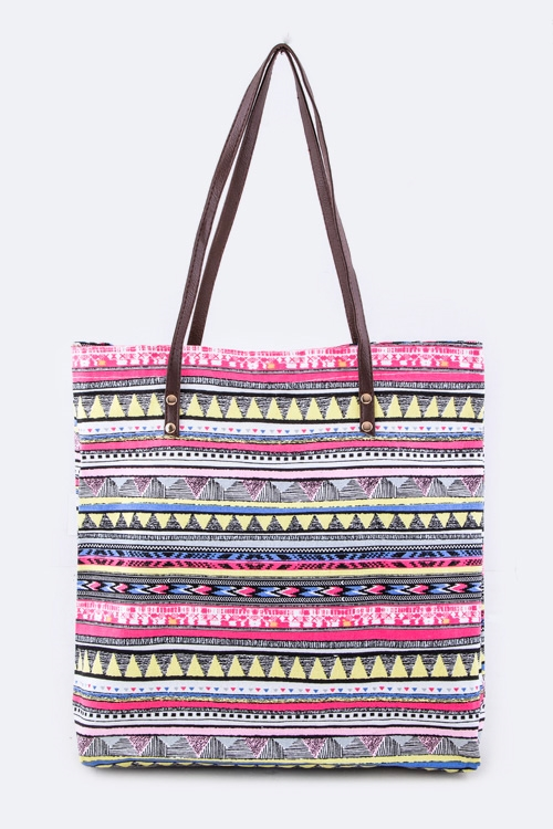 Tribal Print Fashion Tote - orangeshine.com