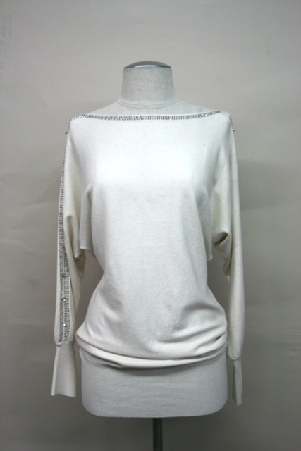 Rhinestone detail sweater  - orangeshine.com