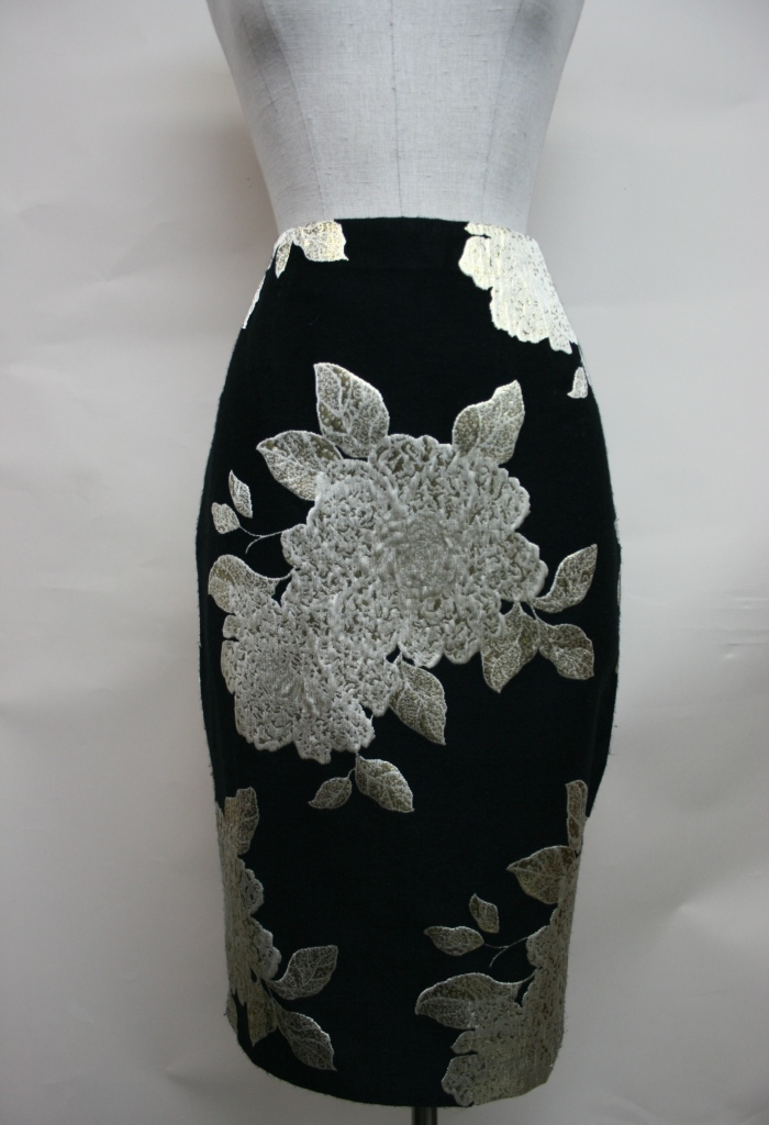 Metallic flower printed skirt - orangeshine.com