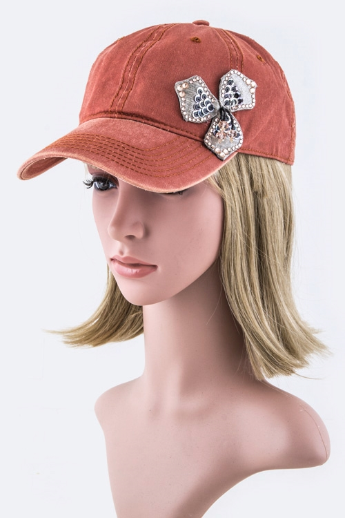 Sequins Flower Fashion Cap - orangeshine.com