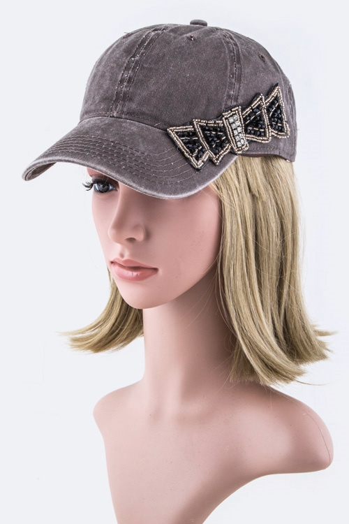 Beaded Bow Fashion Cap - orangeshine.com