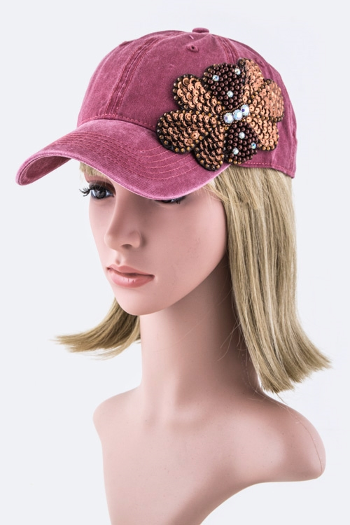 Bead  Sequins Flower Bow Cap - orangeshine.com