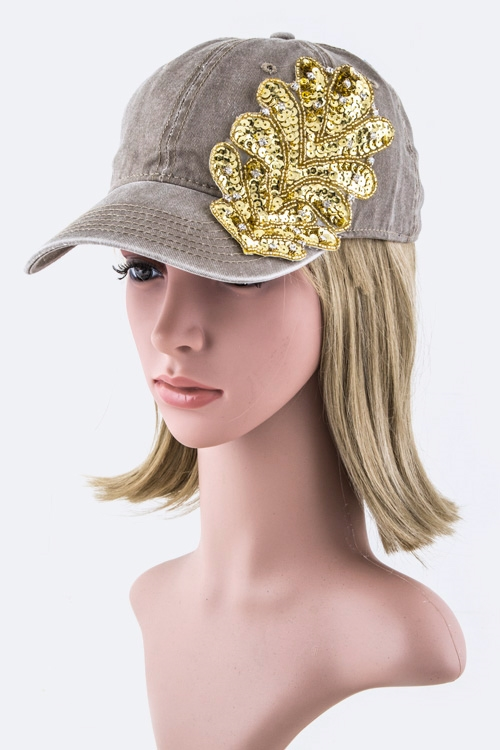 Sequins Leaf Fashion Cap - orangeshine.com
