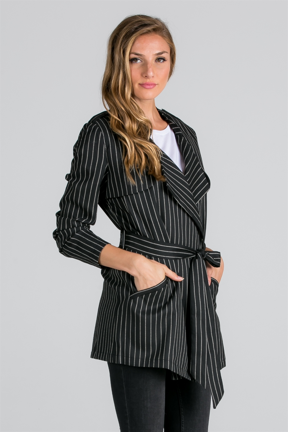 STRIPE BELTED JACKET - orangeshine.com