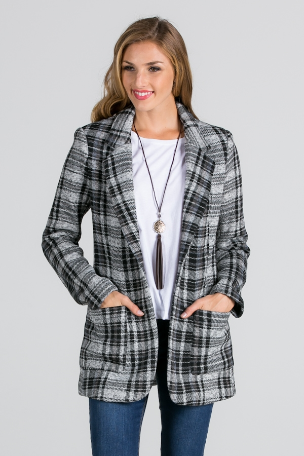 PLAID COAT JACKET - orangeshine.com