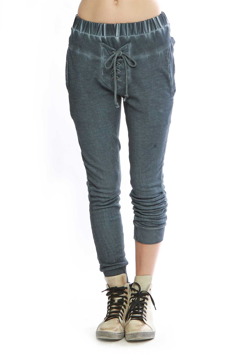 Lace up front detailed pants - orangeshine.com