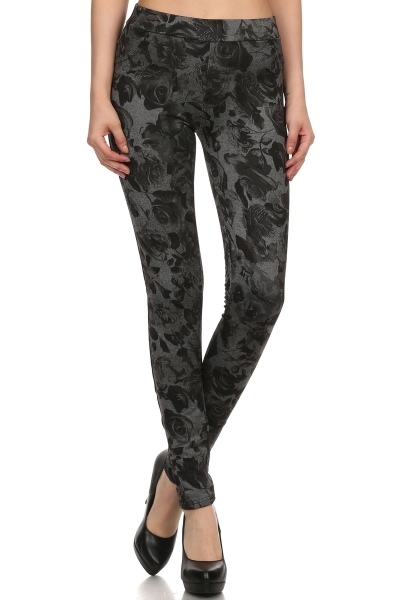 Floral Fleece jeggings Roses - orangeshine.com