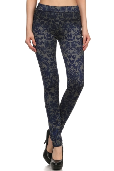 Paisley Fleece Denim Jeggings - orangeshine.com
