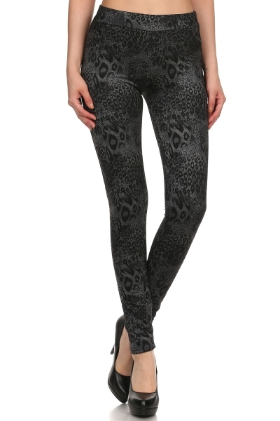 Leopard Fleece Jeggings Denim - orangeshine.com