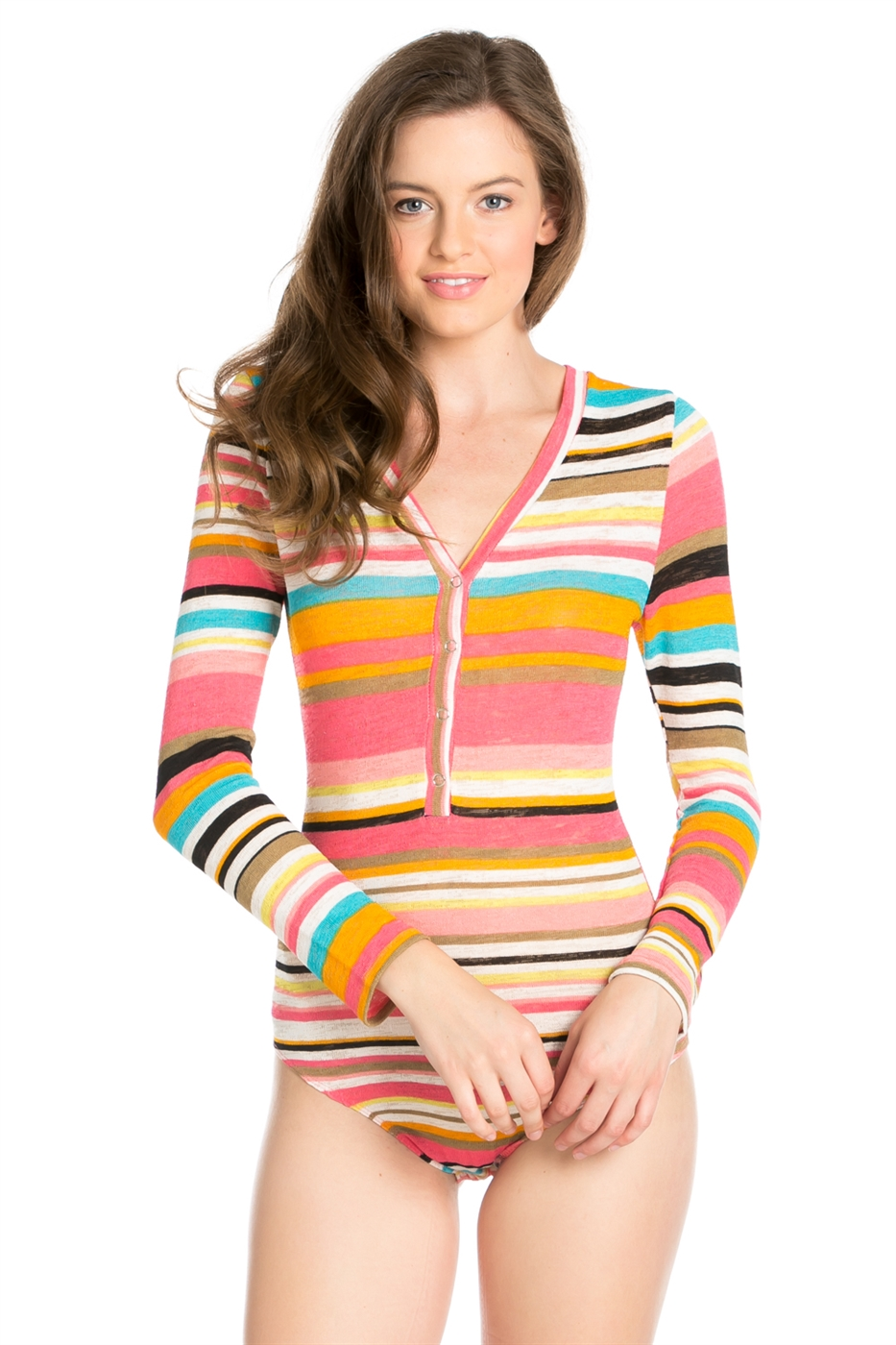 STRIPED LONG SLEEVE BODYSUIT - orangeshine.com