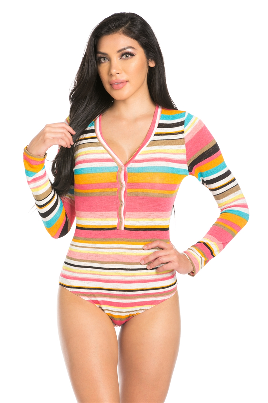 STRIPE LONG SLEEVE V NECK BODY - orangeshine.com