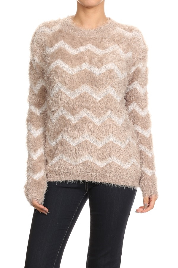 SWEATER CHEVRON BEIGE AND BLAC - orangeshine.com
