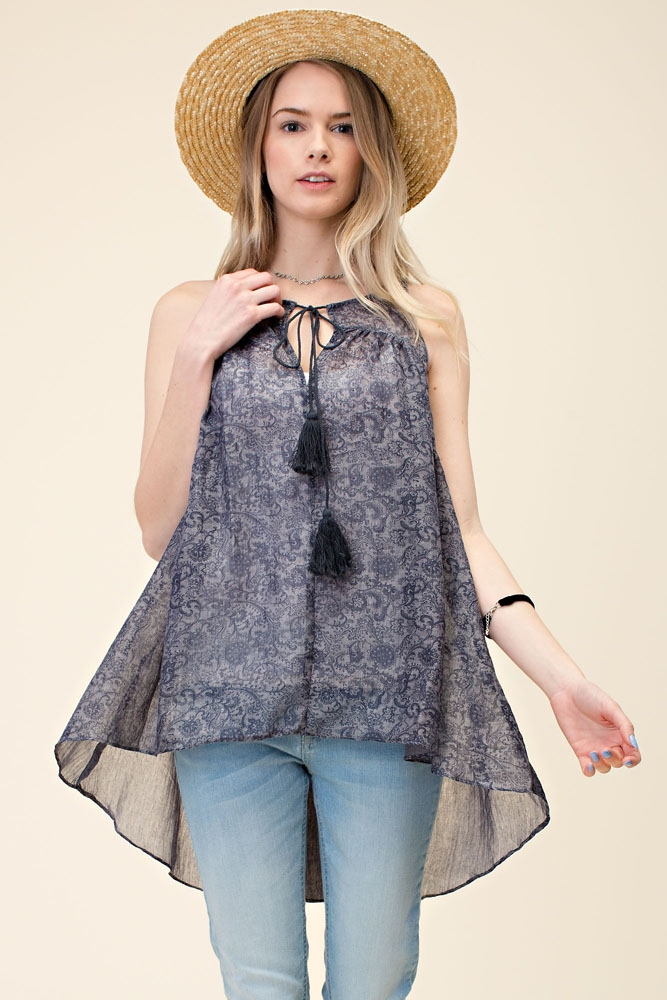 SLEEVELESS TIE-BACK TENT TUNIC - orangeshine.com