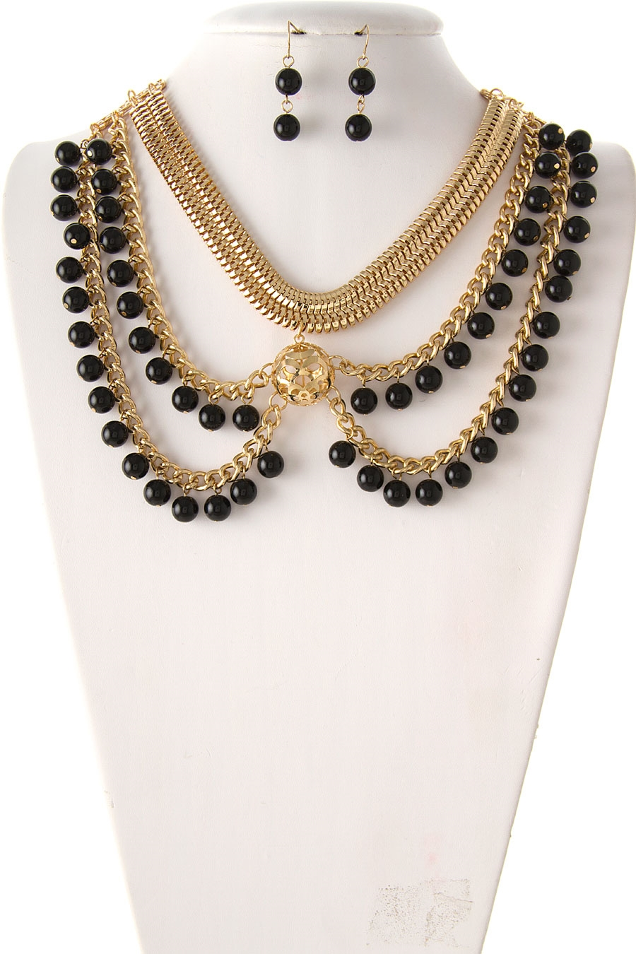 MESH CHAIN BIB NECKLACE - orangeshine.com