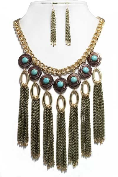 STONE DISC TASSEL NECKLACE - orangeshine.com