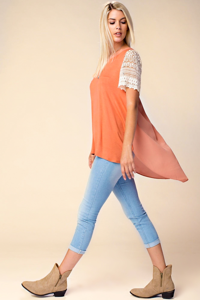 LACE SHORT SLEEVE SOLID TOP - orangeshine.com