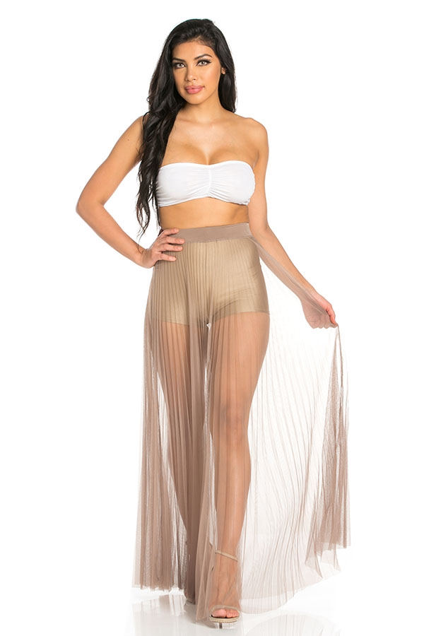 Pleated mesh skirt - orangeshine.com