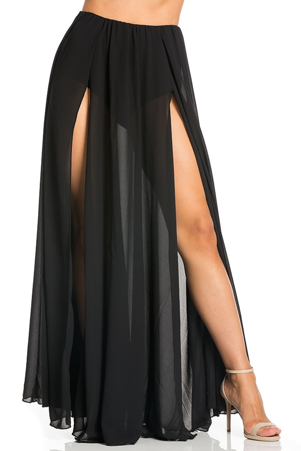 Double slit mesh skirt - orangeshine.com