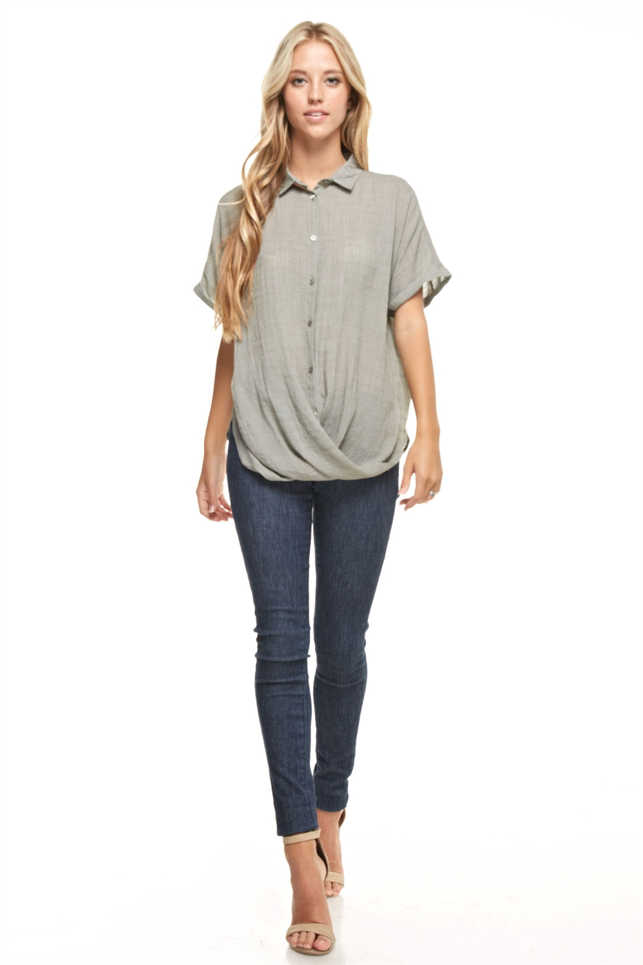 Short Sleeve Collared Top - orangeshine.com