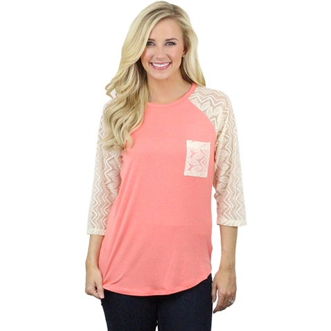 Raglan T-Shirt with Lace - orangeshine.com