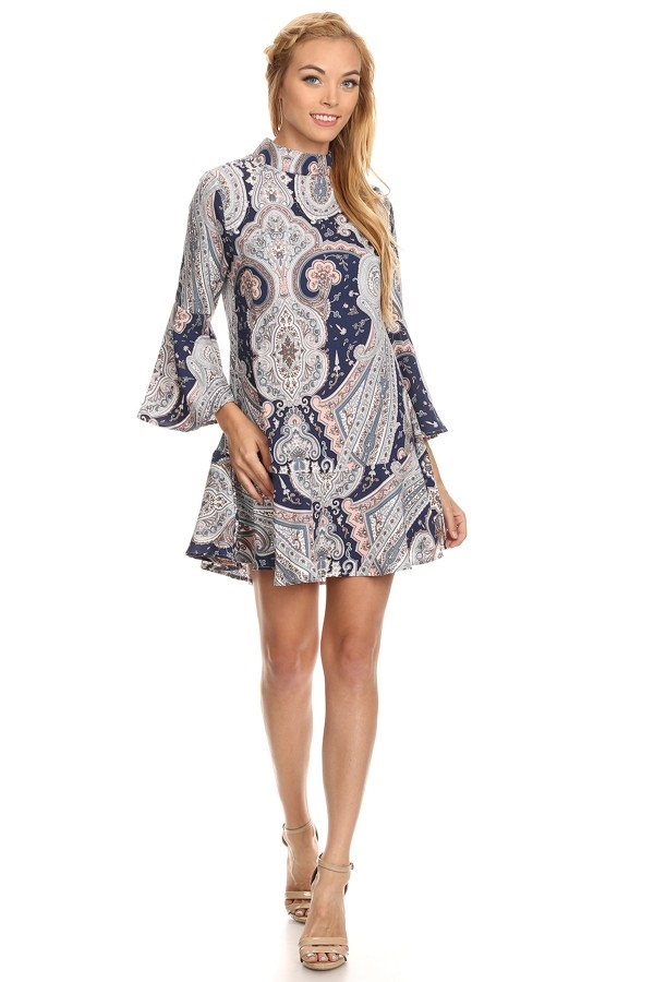 Paisley Bell sleeve Dress - orangeshine.com