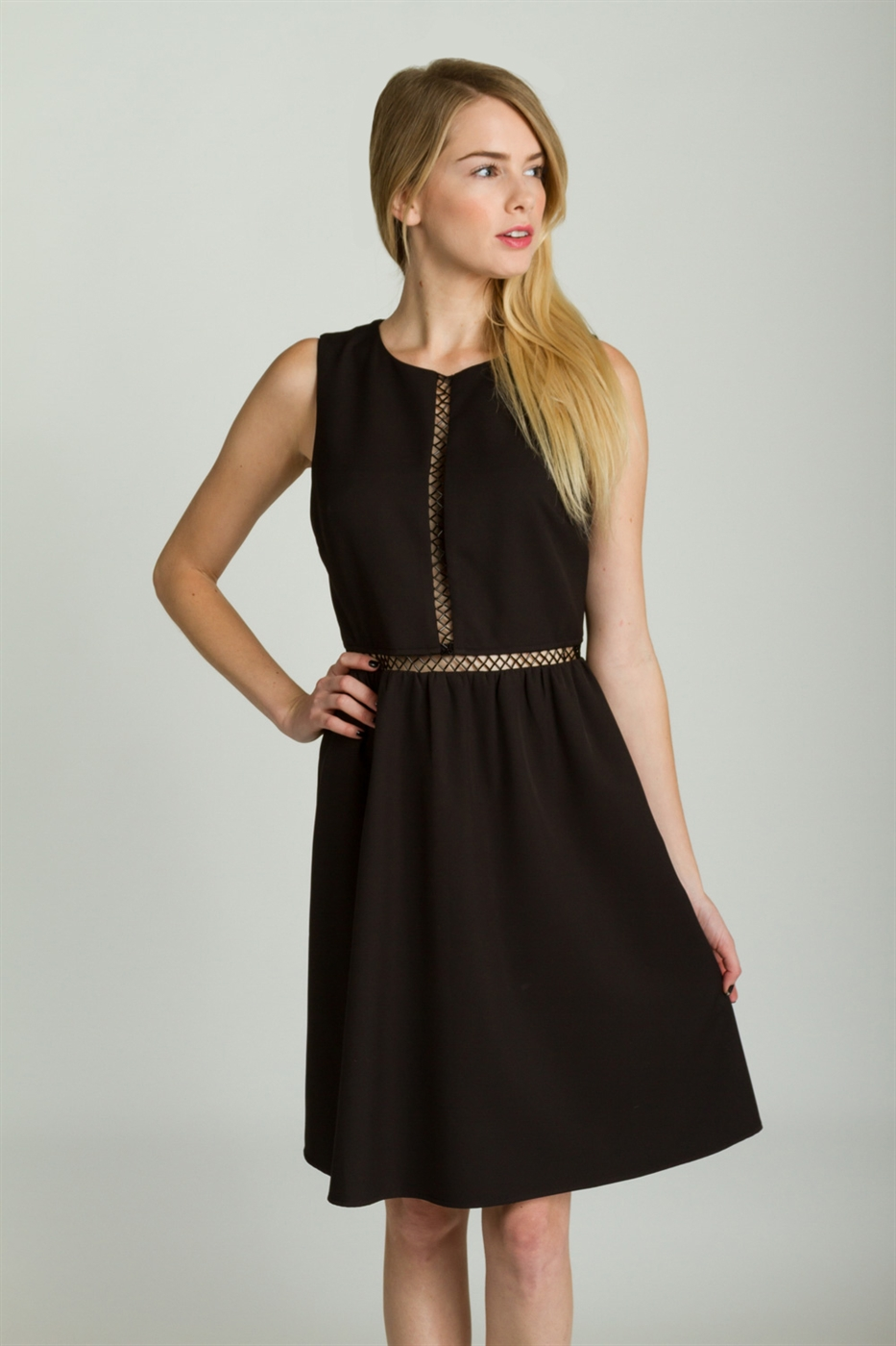 BEADED FIT AND FLARE DRESS - orangeshine.com