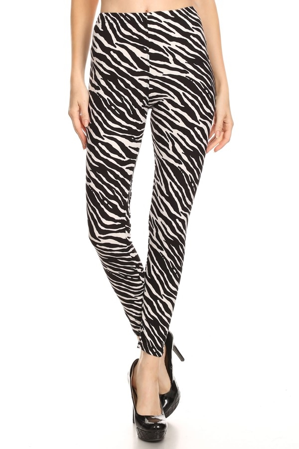 Zebra Animal Printed Leggings - orangeshine.com