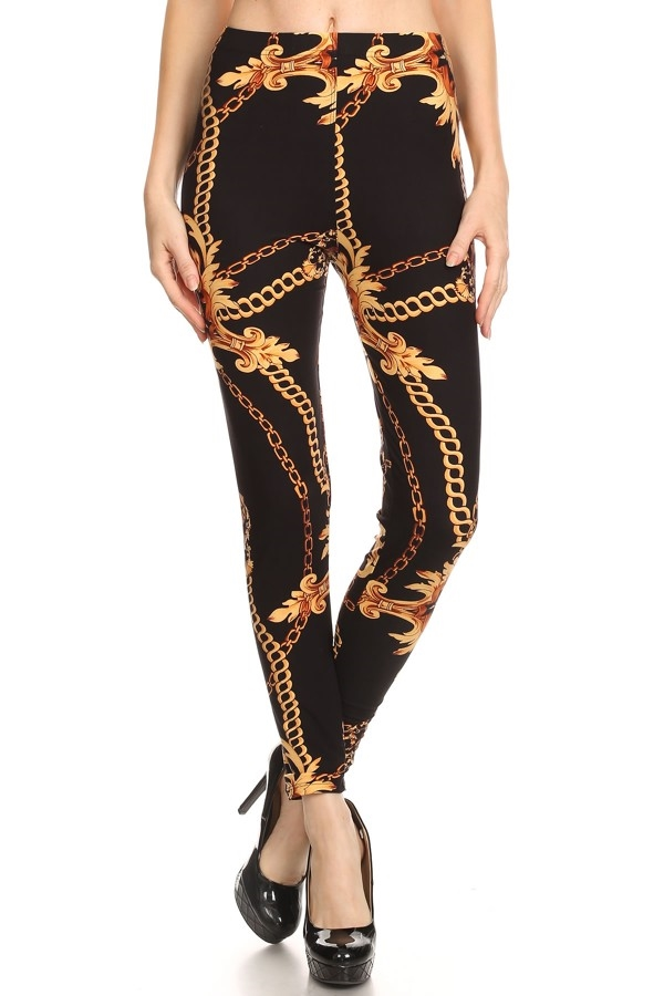 Chain Printed Leggings - orangeshine.com