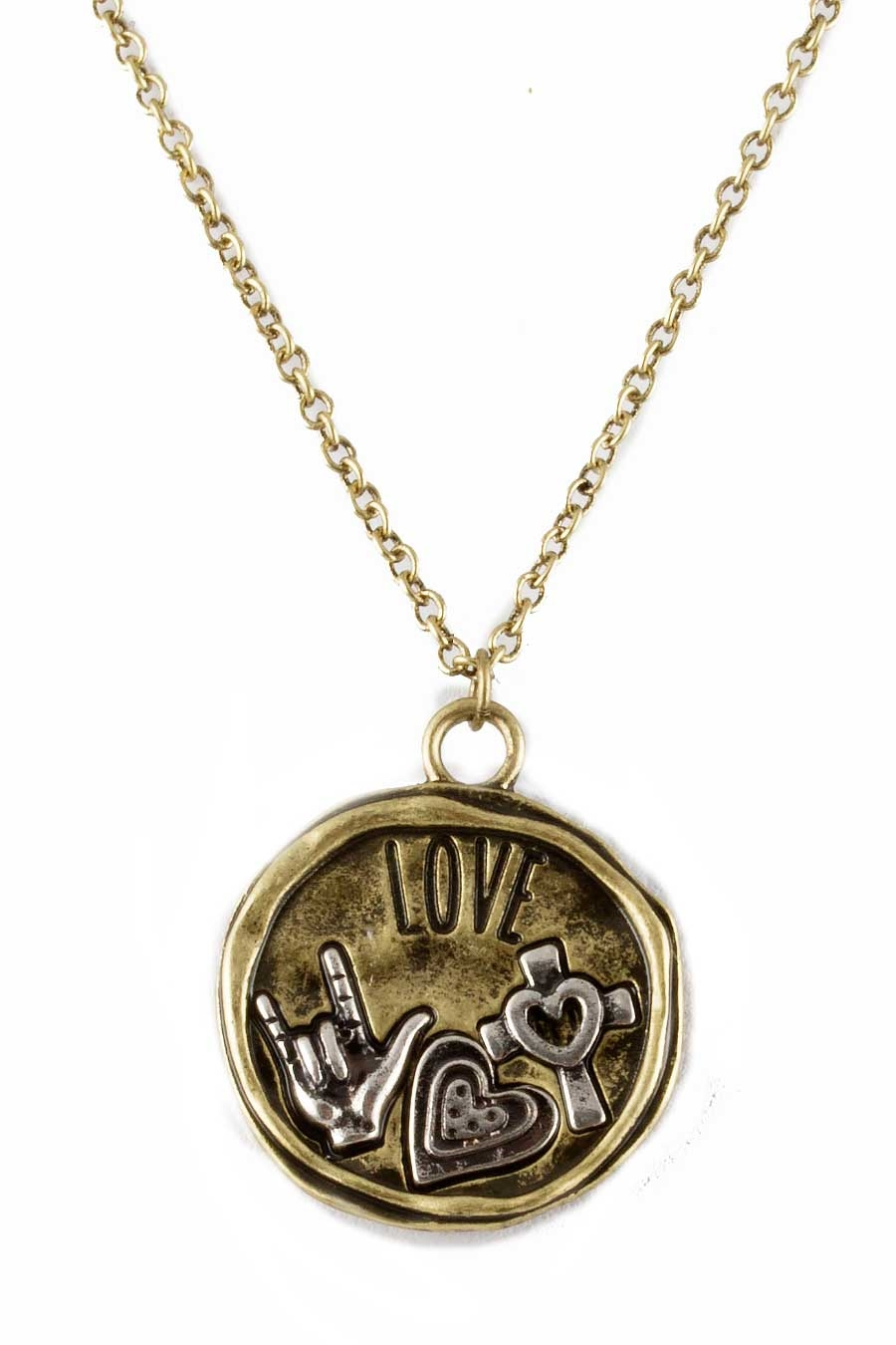 TWO-TONE LOVE NECKLACE  - orangeshine.com