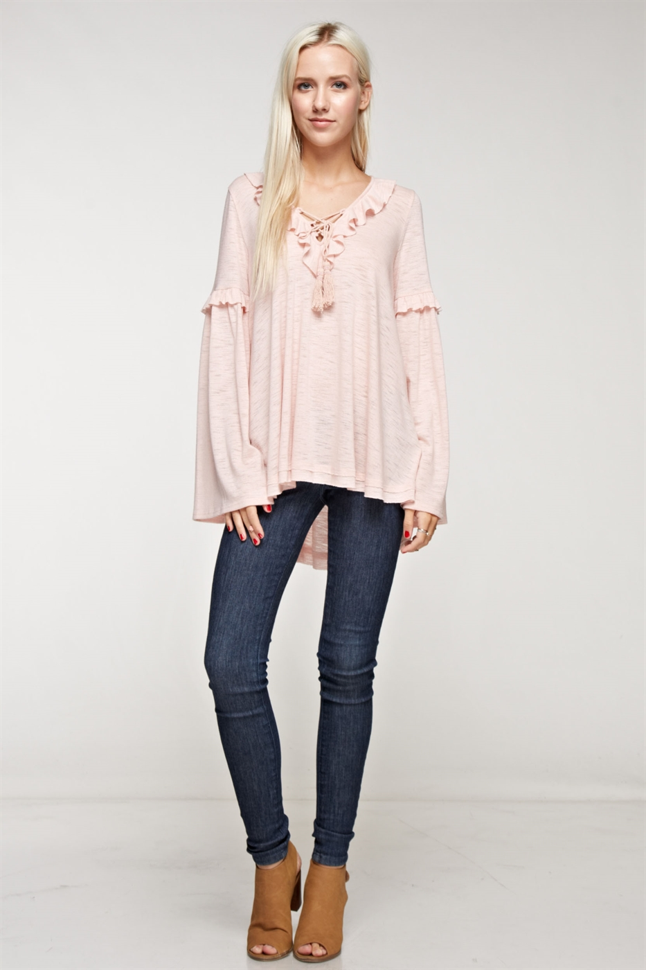 Ruffle bell sleeve long sleeve - orangeshine.com
